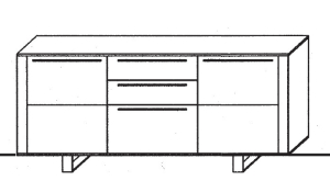 Gwinner Programm Bellano 4-Raster Sideboard Element mit...