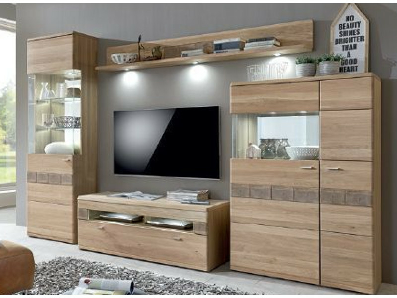 ideal m bel miro kombination 09 eiche bianco lamelle. Black Bedroom Furniture Sets. Home Design Ideas