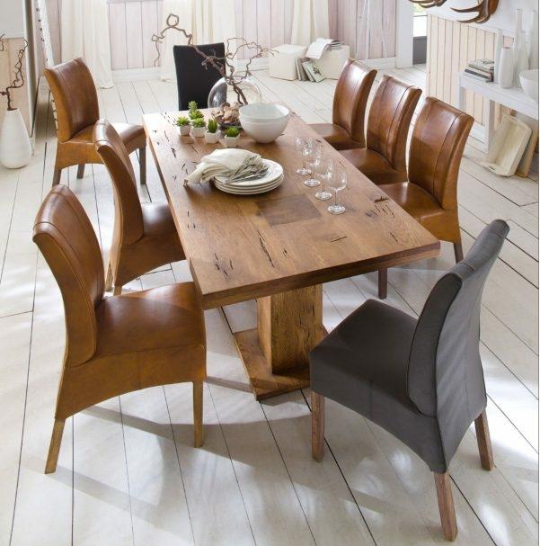 mca furniture esstisch s ulentisch manchester eiche massiv 839. Black Bedroom Furniture Sets. Home Design Ideas
