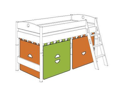Paidi Standard Vorhang Set Orange Grun 49 00